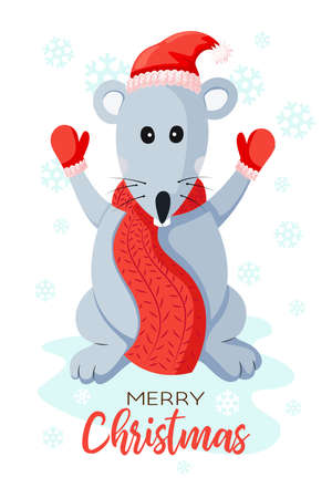 Rat or mouse in a hat of Santa Claus. Fabulous New Year card illustration Illustration