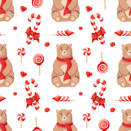 Seamless Christmas Winter pattern background with bears and holiday attributes
