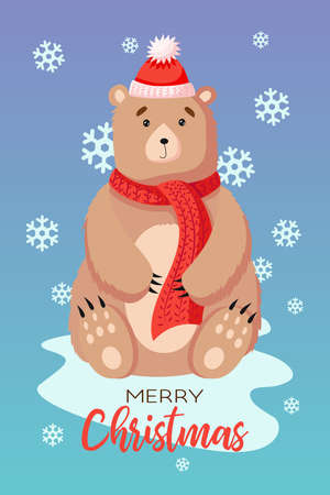 Greeting card. Creative hand drawn card with cute Bear for winter holidays