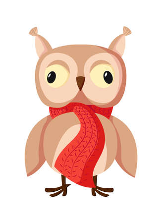 Cartoon character Cute brown owl with big eyes isolated on white background Illustration