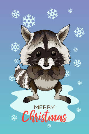Vector holiday illustration of a cute raccoon Christmas Winter greeting card. Çizim
