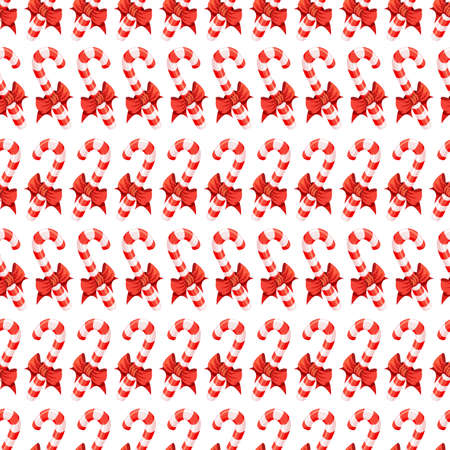 Seamless pattern with candy canes, Christmas vector illustration background