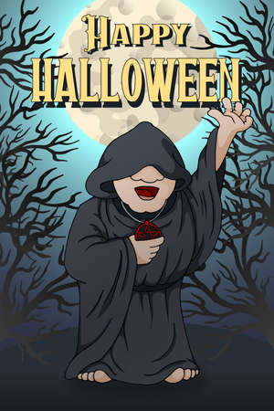 Happy Halloween postcard template. Human Necromancer cartoon Character Ilustrace