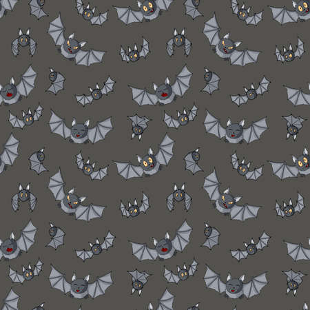 Flying bats vector Halloween seamless pattern. Background for party poster