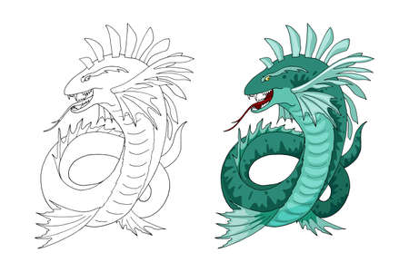 Cartoon Sea serpent creature character. Vector clip art illustration. Hand drawn Element isolated on white. Coloring book page design for kids and children, sticker or game asset