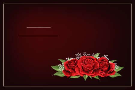 Red rose flower bouquet on dark burgundy background vector template Vector Illustration