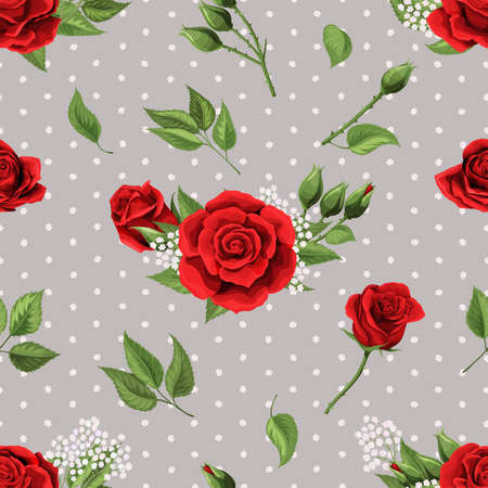 Seamless pattern, background with red roses on stylized polka dots background Иллюстрация