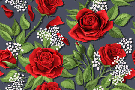 Red rose flower garden texture. Vector floral nature seamless pattern background. Textile design illustration