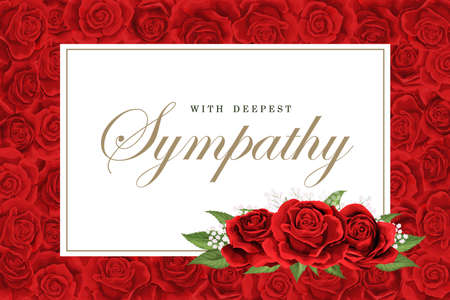 Condolences sympathy card or strict style postcard vector template. Invitation frame with scarlet red roses bouquet and golden lettering