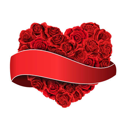 Valentines day red roses filled heart with ribbon isolated Иллюстрация