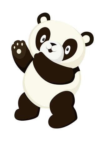 Dibujo de cuerpo completo de panda estilizado. Icono de oso panda simple o diseño Ilustración de vector