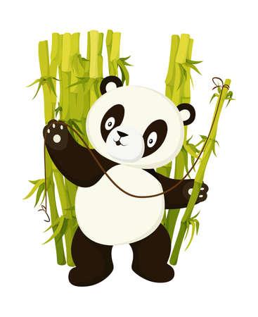 Cute panda bear fishing with bamboo stem flat vector isolated illustration