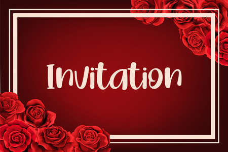 Elegant frame wedding invitation with red rose flower bouquets. Can be used for wedding, notebook cover for girls, events, sign, scrapbook album. Cute vector template in scarlet colors Иллюстрация