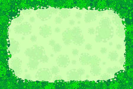 Flat simple cartoon bacterium science frame of microorganisms