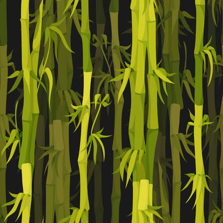 Vector background with green bamboo stems seamless pattern