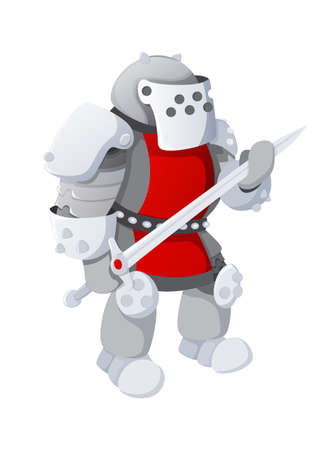 Cartoon medieval knight with long sword, isolated on white background