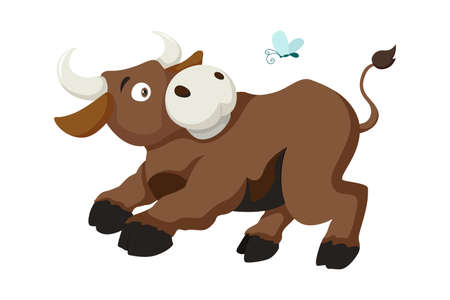 Vector cartoon style illustration of bull farm animal. Isolated on white background. Cow symbol of the 2021 Chinese New Year