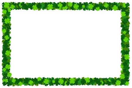 Shamrock St Patricks frame. Blank holiday irish clover border postcard