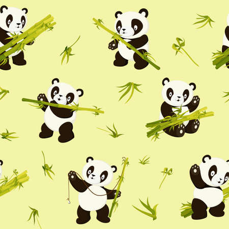 Kawaii panda bears. Cute pandas in various poses seamless pattern