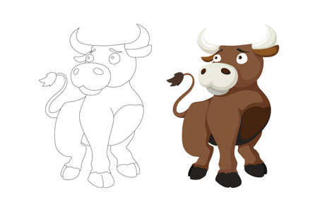 Vector cartoon style illustration of bull farm animal coloring book page