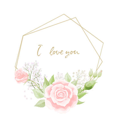 The frame with the elegant wild pink roses for Spring Season greeting postcard Vettoriali