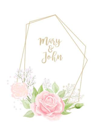 The frame with the elegant wild pink roses for Spring Season greeting postcard Ilustração Vetorial