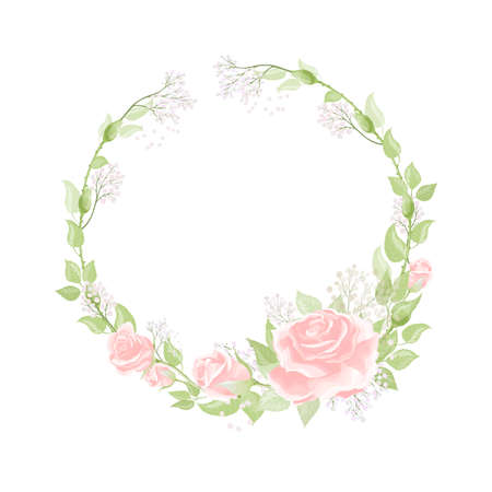 Happy Valentines day romantic greeting postcard wreath with pink rose flowers