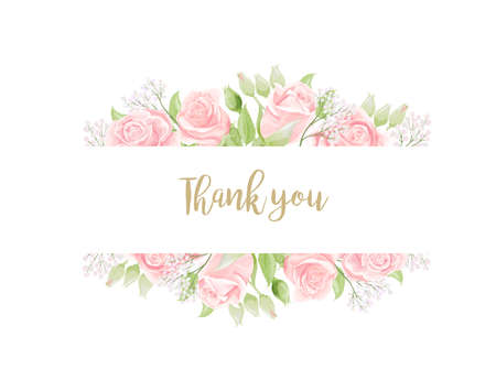 Thank You invitation card template with beautiful pink roses. Vintage cream rose flowers with geen leaves isolated on white background. Vector illustration