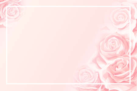 Blank frame with soft pink background of pretty cream rose flower buds