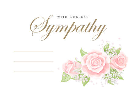 Condolences sympathy card floral cream pink rose bouquet with green leaves and golden lettering vector template Vector Illustration