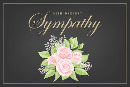 Pink rose bouquet on black background. Save the date, sympathy, condolences or strict style postcard vector template Vector Illustration
