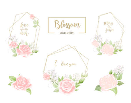 The frames set with elegant wild pink roses for Spring Season greeting postcard