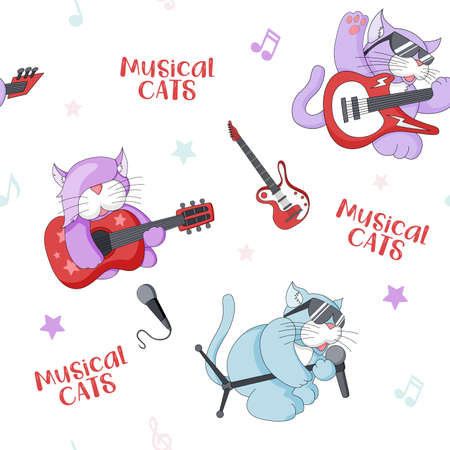 Seamless pattern with cute cartoon musican kittens on white background