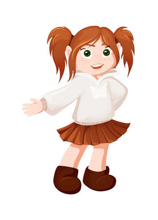 Vector red-haired girl is showing to something. Ginger school girl vector Ilustrace