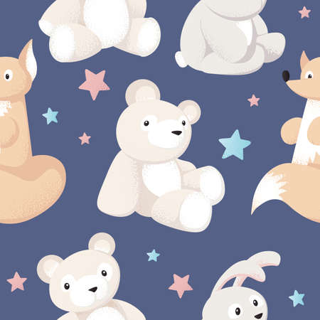 Animal kid characters baby textile design vector seamless background