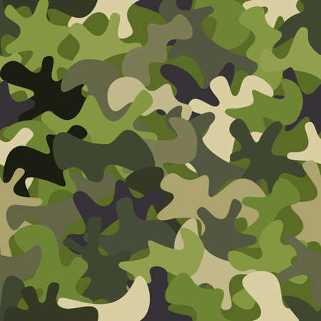 Camouflage pattern background. Classic clothing style masking camo repeat print Vetores