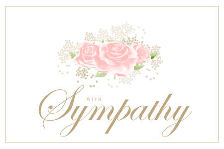 Pink rose bouquet on white background vector sympathy template Иллюстрация