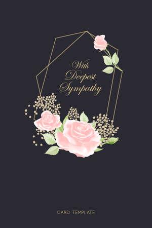 Pink rose frame on black background vector sympathy template Vector Illustration