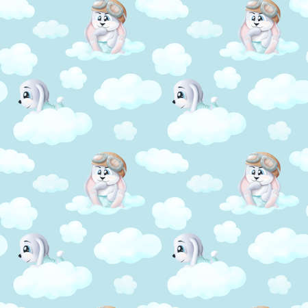 Cute hand drawn Bunny sitting on a cloud seamless pattern background