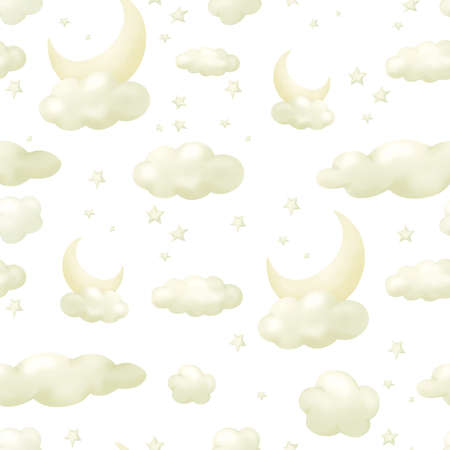 Background with night sky elements, hand drawn seamless pattern illustration