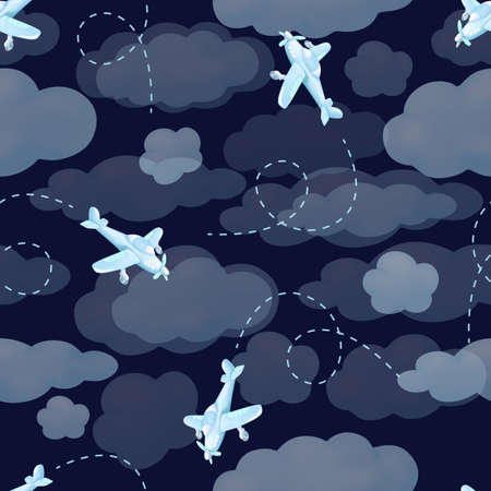 Airplanes flying from clouds on dark blue sky. Seamless pattern background