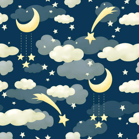 Seamless pattern clouds night blue sky. Wallpapers for baby playroom or nursery