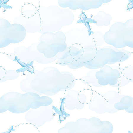 Airplanes flying from clouds isolated on white sky. Seamless pattern background
