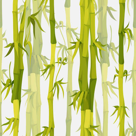 Vector background with green bamboo stems seamless pattern Vectores