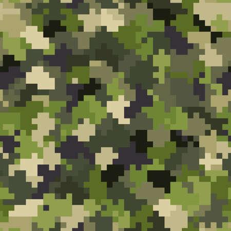 Military camouflage seamless pattern. Woodland digital pixel style.