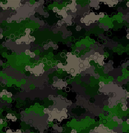 Texture military camouflage seamless pattern. Abstract army vector illustration Ilustração