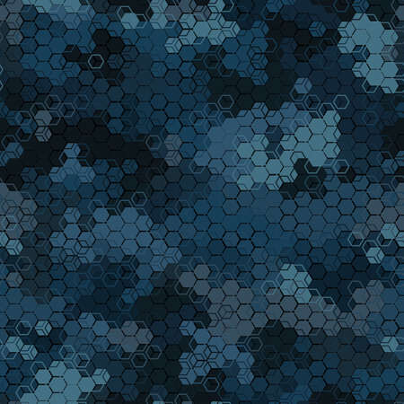 Texture military camouflage seamless pattern. Abstract modern army camo, blue hex ornament, navy dark night colors, endless background. Vector illustration.