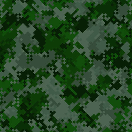 Seamless digital woodland pixel camo texture for army or hunting textile print. Vector digital military camouflage pattern. Dark green grass and marsh moss color palette