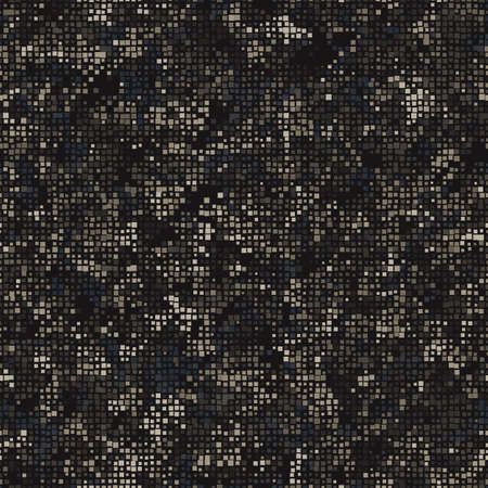 Texture military digital brown camouflage seamless pattern. Abstract army and hunting masking ornament background. Vector digital pixel mosaic camo texture