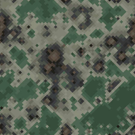 Khaki, beige and green halftones camouflage seamless vector background texture